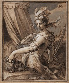Hendrick Goltzius, Judith with the Head of Holofernes, n. Pen and dark brown ink, brush and grey wash and blue and white opaque watercolo. Judith And Holofernes, Baroque Art, Dutch Artists, Old Master, Cat Drawing, Figurative Art, Traditional Art, Michelangelo, Art Inspo