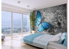 Blue Butterfly x Wallpaper East Urban Home 3d Wallpaper Mural, Floor Wallpaper, Living Room Sofa Design, Bedroom Bed Design, Large Wall Murals, Mural Wall Art, Butterfly Wall, Blue Butterfly, 3d Floor Art