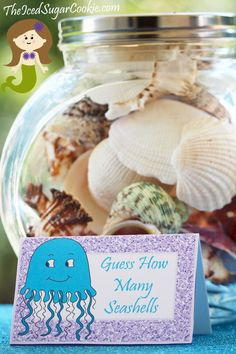 Guess How Many Seashells-printable cards for Mermaid Party!                                                                                                                                                                                 More