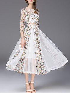 White Chiffon 3/4 Sleeve Floral Maxi Dress