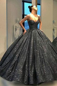 Unique Prom Dresses, Sparkly Black Sweetheart Spaghetti Straps Prom Dress A Line Ball Gown with Sequins, There are long prom gowns and knee-length 2020 prom dresses in this collection that create an elegant and glamorous look Straps Prom Dresses, Long Prom Gowns, Ball Dresses, 15 Dresses, Elegant Dresses, Pretty Dresses, Sexy Dresses, Beautiful Dresses, Ball Gowns