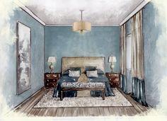 interior sketch. bedroom