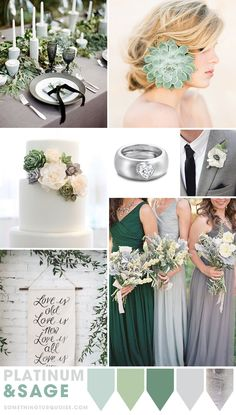 Platinum and Sage wedding theme ideas! Gorgeous color pallette || Selected by Finepointwedding.com