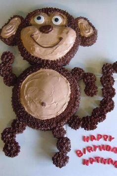 Monkey cake with cupcake tail