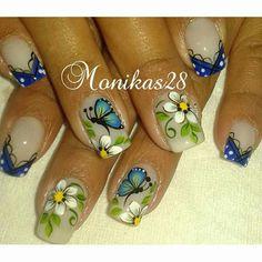 20 Modelos de unhas fancesinhas com flor; veja: Finger Nail Art, Butterfly Nail, Flower Nails, Pretty Nails, Pedicure, Nail Designs, Floral, Nail Polish Colors, Nail Art Designs