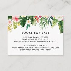 Tropical Leaves Baby Shower Book Request Cards