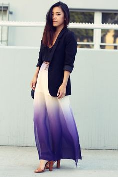 ok, so i want to try the long skirt style, and pairing it with a blazer => so me
