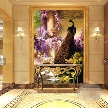 3d art backdrop HD Continental Classic Peacock dove covering Home Decor Modern Wall Painting For Living Room papel de parede(China (Mainland))