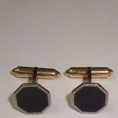 "ANTIQUE KREMENTZ MENS CUFFLINKS BLACK ENAMEL 1/2"" OCTAGON GOLD SILVER ART DECO #KREMENTZ"