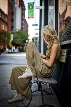 maxi dress, leather sneakers.