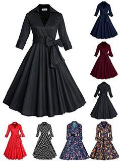 cb6c7a71a0f97 3 4 Sleeve Classy V Neck Audrey Hepburn Style 1940 s Rockabilly Dress  (Navy