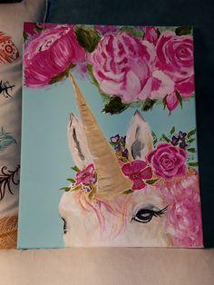 Unicorn Garden. Original acrylic painting on 11x14 stretched canvas with wood profile and finished edges. LulaRoe decor, whimsical decor, nursery decor, little girl's room decor.