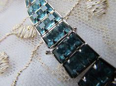 DanusharoseCR14 Vintage Bridal Jewelry Collection presents Sky Blue Topaz like Double Squared Rhinestone Choker Necklace