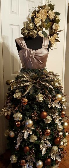 My Christmas tree gown for 2014 dress form christmas tree