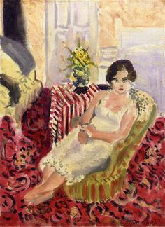 Seated Figure, Striped Carpet, 1920 - Henri Matisse