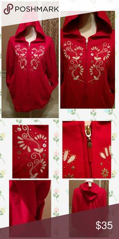 New Red embroidered plus hoodie New plus size embroidered bright red hoodie with side pockets size 1x 18/20w Jackets & Coats