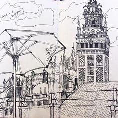 Rooftop of hotel doña María. #sketch #urbansketch #sketchwalker #cafe #breakfast #practice #life #watercolor #love #mstudiosketch #acuarela #drawing #practica #素描 #人 #水彩 #seville #sevilla #spain #españa #cathedral #rooftop #hotel #doñamaria