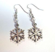 Jewelry Earrings White Pearl Swarovski by SpiritCatDesigns on Etsy