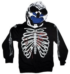 Skeleton Youth Boys Costume Hoodie Jacket with Skull Mask
