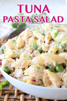 This Tuna Pasta Salad is a classic American potluck staple and its just as easy as it is delicious Made with canned Albacore tuna peas pasta shells and dill with a creamy. What Is Healthy Food, Quick Healthy Meals, Healthy Food List, Healthy Diet Recipes, Potluck Recipes, Healthy Foods To Eat, Seafood Recipes, Healthy Eating, Keto Foods
