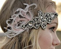 Posh Society Great Gatsby Headband Crystal and Blush Pink White Feather Plumage