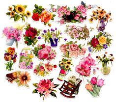 40pcs Self-made Beautiful Flower Scrapbooking Stickers Decorative Sticker Floral DIY Craft Photo Albums Decals Diary Deco
