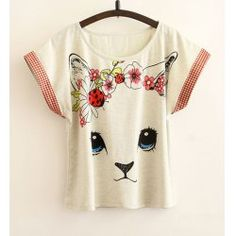 Loose-Fitting Floral Print Batwing Sleeve Scoop Neck Pullover T-Shirt For Women