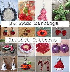 Happiness Crafty: 16 FREE Εarrings Crochet Patterns