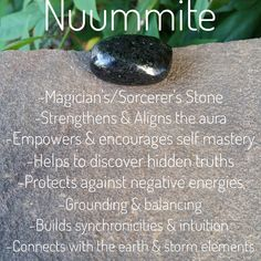 Nuummite is one of the oldest minerals on earth billion+ years old) & has a strong electromagnetic field. Nuummite is great for self discovery & self mastery as it helps you to gain a deeper understanding of everything. Crystals Minerals, Rocks And Minerals, Crystals And Gemstones, Stones And Crystals, Gem Stones, Crystal Magic, Crystal Healing Stones, Chakra Crystals, Chakra Stones