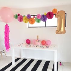 Maya's party set up  So happy with how it all turned out after a few minor hiccups this morning!! #confettiparty #firstbirthday #mayasfirstbirthday by _mayaruby_