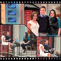 On the set of Access Hollywood Live with Billy Bush and Kit Hoover