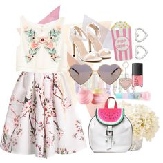Pastel Love by vicococeres on Polyvore featuring H&M, Sophia Webster, MARC BY MARC JACOBS, Valentino, Wildfox, Skinnydip, claire's, Eos, NARS Cosmetics and Oliver Gal Artist Co.