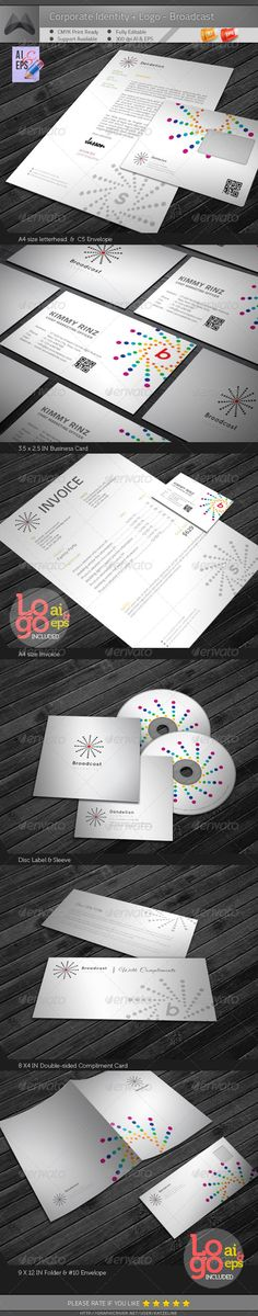 Corporate Identity Package - Broadcast #GraphicRiver [Corporate Identity Package – Broadcast] contains: 1. Letterhead : A4 size 2. Invoice : A4 size 3. Business Card : 3.5X2.5 in 4. C5 Envelope 5. #10 Envelope 6. Disk Label 7. Disk Sleeve 8. Compliments: 8X4 in 9. Presentation Folder: 9×12in 300dip CMYK Print Ready + 0.25in Bleed AI CS4 & EPS 10.0 Logo Included (AI & EPS)__Please the 'Screenshots' to see the Logo Preview Exclusive on Graphicriver Only. Font Used…