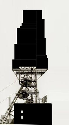 Beniamino Sevino. An anonymous tower on the terrace. [Based on a photo by Bernd-&-Hilla-Becher].