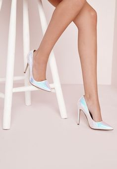 Channel major sea punk vibes this season in these chic court shoes. With seriously fierce white holographic detail covering, these stiletto heeled beauties are a dream.   Approx heel length 12cm/4.5""