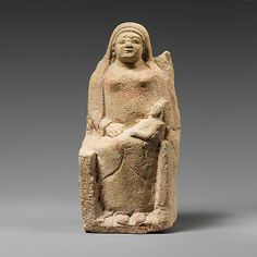 Seated limestone kourotrophos (terracotta figurines depicting women carrying children). Period: Archaic Date: late 6th century B.C. Culture: Cypriot Medium: Limestone