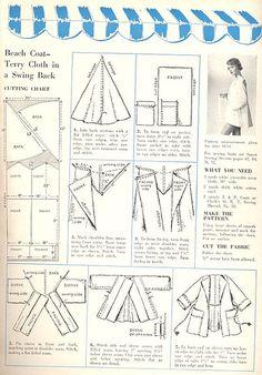 1950s Vintage Beach Coat Sewing Draft Pattern and Tutorial