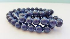 15 Inch Strand of Navy Blue Natural Jade by FunkyCreativeJuices