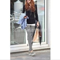 Y802 big code black and white striped cotton pants Leggings full vertical stripes tights jeans woman leggings for women pants-in Socks & Hosiery from Apparel & Accessories on Aliexpress.com