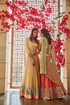Girly pastel lehengas for Mehendi/ Sangeet Light Lehengas - Yello Lehenga with Mirror Work and Coral Lehenga with a Mint Green Dupatta Indian Attire, Indian Ethnic Wear, Indian Wedding Outfits, Indian Outfits, Wedding Dresses, Pakistani Dresses, Indian Dresses, Saris, Look Fashion