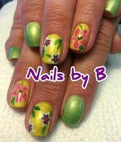 #nailart #handpainted #nailsbyb #gelpolish #flowers #green #yellow