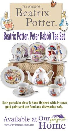 Each porcelain piece is hand finished with 24 carat gold paint as are all Reutter porcelain tea sets. They are food and dishwasher safe. Large functional size in an heirloom quality tea set. All beautifully packed in a suitcase. Peter Rabbit And Friends, Romantic Bedrooms, Beatrix Potter, Carat Gold, Gold Paint, Tea Sets, Teapot, Grandkids, Espresso