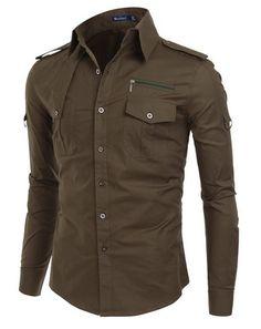 #Doublju Mens #Dress #Shirt with Epaulet $24.99 - $32.99