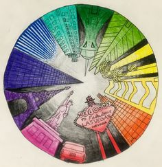 Kids art market: color wheel perspective viral images i like художественное Color Wheel Art, Colour Wheel Lesson, Color Wheel Projects, 7th Grade Art, Middle School Art Projects, Perspective Art, Art Curriculum, Art Lessons Elementary, Elements Of Art