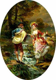 Decoupage Vintage, Decoupage Paper, Vintage Art, Romantic Paintings, Classic Paintings, Victorian Paintings, Victorian Art, Flowery Wallpaper, Universe Art