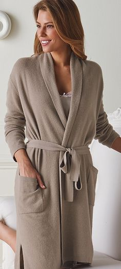 Relax in the cozy warmth of our exclusive Cashmere Robe. Woven of exquisite 12-gauge, two-ply cashmere, this soft, lightweight robe makes an elegant gift that will be appreciated over and over again.