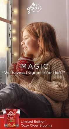 Share the memories of holiday magic this season with the Limited Edition Cozy Cider Sipping fragrance from Glade. Relive childhood memories of warm fresh apple cider—all mixed with the comforting scent of nutmeg and cinnamon. The Cozy Cider Sipping candle is an easy way to add a little magic to your home décor. MAGIC. We have a fragrance for that. Glade Limited Edition fragrances are available now.