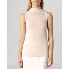 Reiss Sweater - Turin Core Basic Sleeveless Roll Neck ($159) ❤ liked on Polyvore featuring tops, sweaters, oyster, pink sweater, reiss, no sleeve sweater, sleeveless sweater and pink sleeveless top