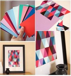 DIY Paint Chip Wall Art art paint diy diy crafts do it yourself diy art diy tips diy ideas diy photo diy picture diy photography paint chip Mosaic Wall Art, Diy Wall Art, Diy Wall Decor, Diy Artwork, Paint Chip Wall, Paint Chips, Paint Sample Wall, Diy Wand, Mur Diy