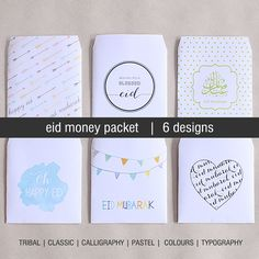 Instant Download Eid Money Packet/Envelope. tribal, calligraphy, colours, clasic, typography & pastel. Print as many times as you wish. Eid gift, eid mubarak Eid Crafts, Ramadan Crafts, Ramadan Activities, Diy Eid Decorations, Eid Envelopes, Fest Des Fastenbrechens, Eid Ramadan, Eid Greetings, Happy Eid